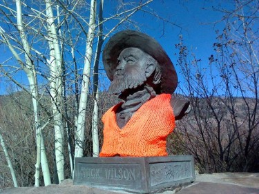 bronze bust w/ knitted vest